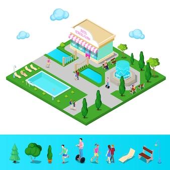 Izometryczny park miejski z fontanną i basenem. aktywni ludzie chodzą w parku. ilustracji wektorowych