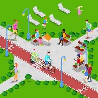 Izometryczny park miejski ze ścieżką rowerową. aktywni ludzie chodzą w parku.