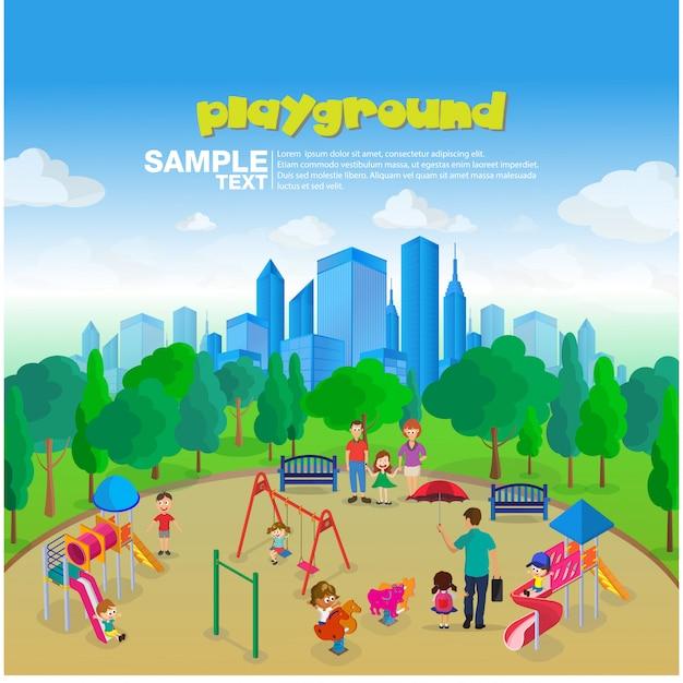 Izometryczny park plac zabaw