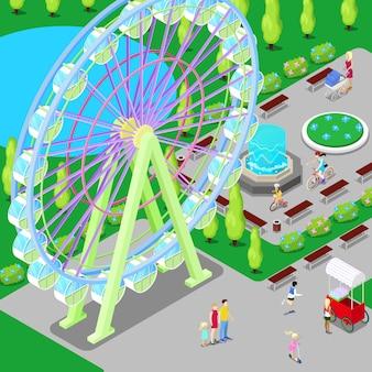 Izometryczny park rozrywki z diabelskim młynem i dziećmi.
