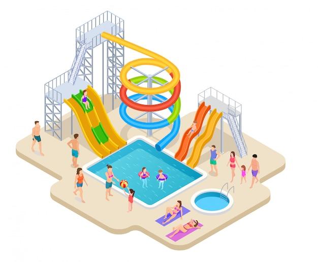 Izometryczny park wodny. aquapark dzieci zjeżdżalnia zjeżdżalnia wodna aqua rekreacja zajęcia letnie basen rozrywka gra park wodny
