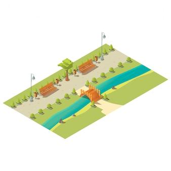 Izometryczny park z ławkami, drzewami, krzewami, drewnianym mostem nad rzeką i koszami na śmieci