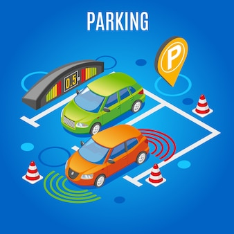 Izometryczny parking kolorowy