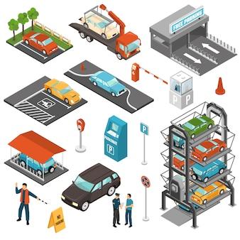 Izometryczny parking samochodowy