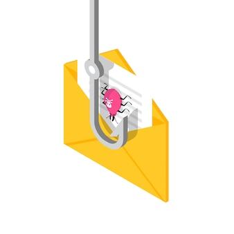 Izometryczny phishing danych, hacking koncepcji oszustwa online. wędkowanie przez e-mail. cyber złodziej.