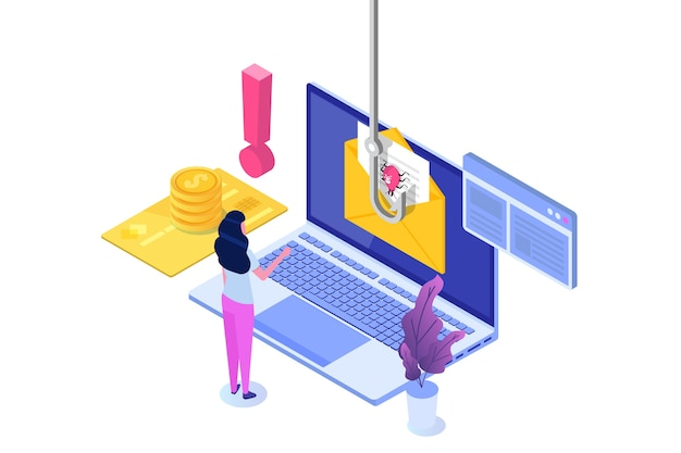 Izometryczny phishing danych, hakowanie oszustwa internetowego na koncepcji laptopa. wędkowanie przez e-mail. cyber złodziej.