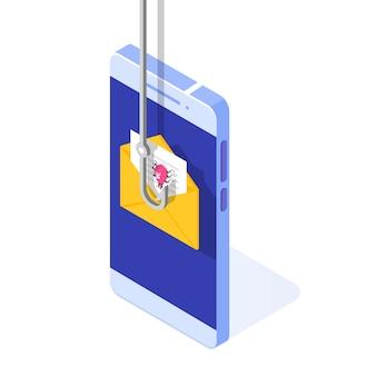 Izometryczny phishing danych, hakowanie oszustwa internetowego na koncepcji smartfona. wędkowanie przez e-mail. cyber złodziej.