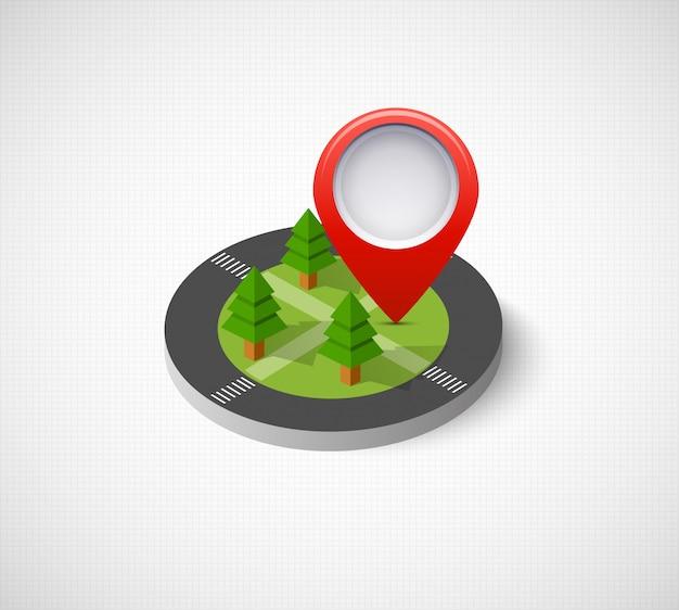 Izometryczny pin ikona na mapie nawigacyjnej
