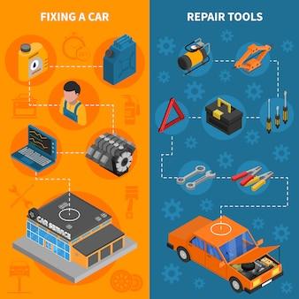 Izometryczny pionowy zestaw banerów usług samochodowych