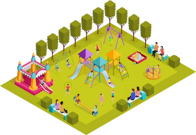 Izometryczny plac zabaw dla dzieci
