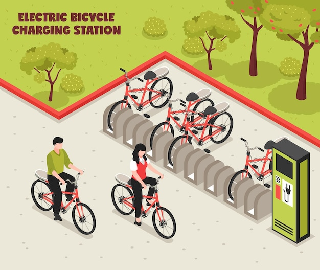 Izometryczny plakat ekologicznego transportu ilustruje elektryczną stację ładowania rowerów z stojącymi na parkingach rowerami