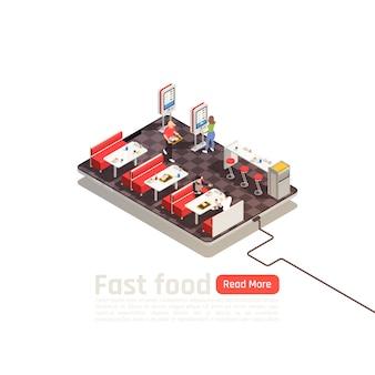 Izometryczny plakat fast food z klientami w samoobsługowych wnętrzach kawiarni przybywających do jedzenia