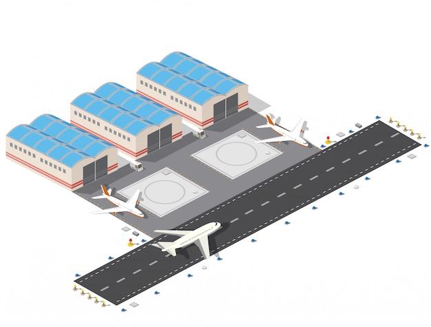 Izometryczny plan lotniska w mieście, lot budowy i budowy, terminal