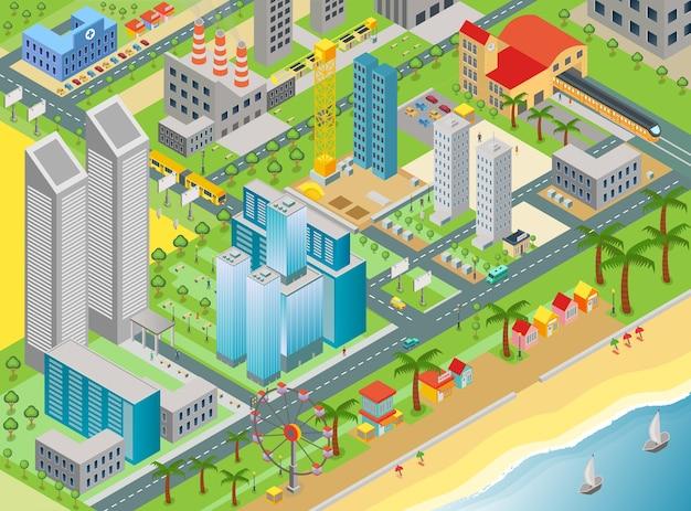 Izometryczny plan miasta z nowoczesnymi budynkami i plażą z parkiem rozrywki