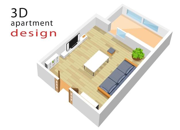 Izometryczny plan piętra mieszkania. ilustracja wnętrza nowoczesnego salonu izometryczny.