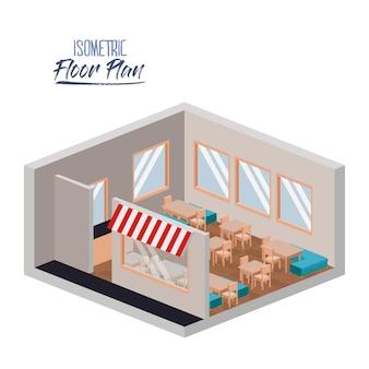 Izometryczny plan piętra restauracji
