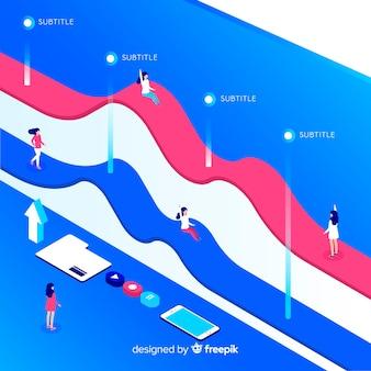 Izometryczny plansza z wykresów i ludzi