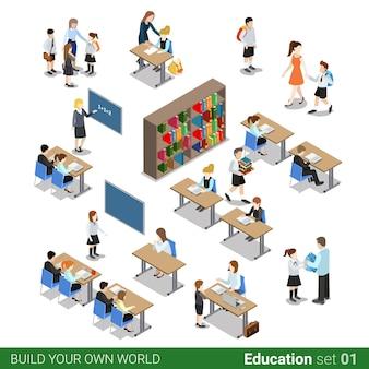 Izometryczny płaski blok konstrukcyjny szkoły. uczeń dzieci student nauczyciel ludzie biurko biblioteka klasy zestaw.