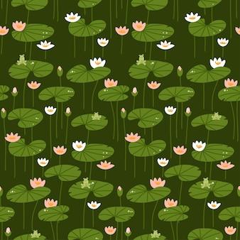 Izometryczny płaski lilia wodna wzór różowe i białe lotosy z żabami