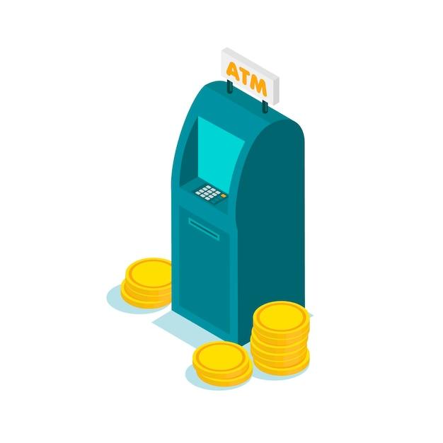 Izometryczny płaski projekt bankomatu z monetami. wypłata pieniędzy z bankomatu. korzystanie z terminala automatycznego.