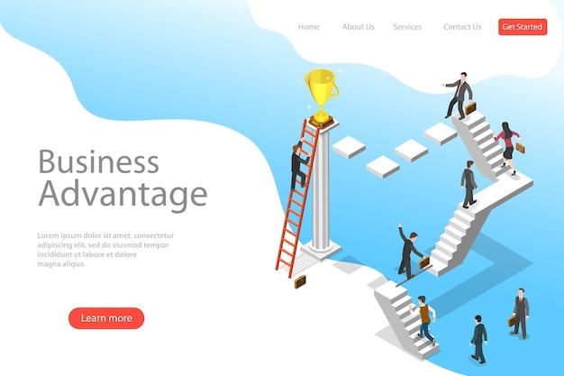 Izometryczny płaski szablon strony docelowej przewagi biznesowej, przywództwa, innowacyjnego myślenia, kreatywnego pomysłu.
