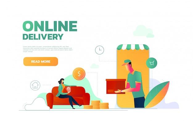 Izometryczny płaski szablon strony docelowej usługi ekspresowej dostawy, usługi kurierskiej, wysyłki towarów, zamawiania żywności przez internet. ilustracja.