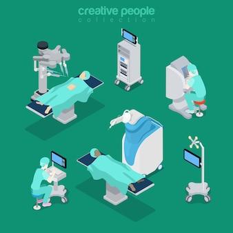 Izometryczny płaski szpital nowoczesny sprzęt i ilustracja personelu medycznego