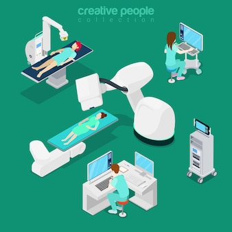 Izometryczny płaski szpital nowoczesny sprzęt, komputerowa ilustracja diagnostyczna