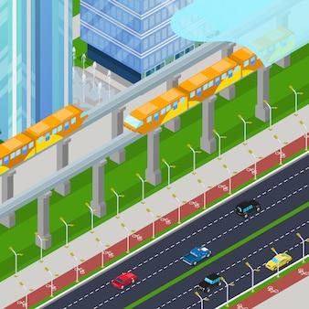 Izometryczny pociąg kolei jednoszynowej w nowoczesnym mieście z drapaczami chmur. 3d płaska ilustracja