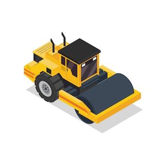 Izometryczny Pojazd Rolkowy Road Roller Premium Wektorów