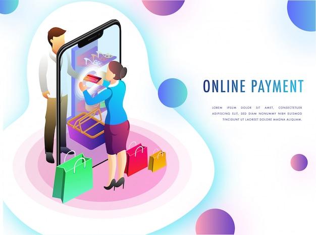 Izometryczny pojęcie płatności online z aplikacji.