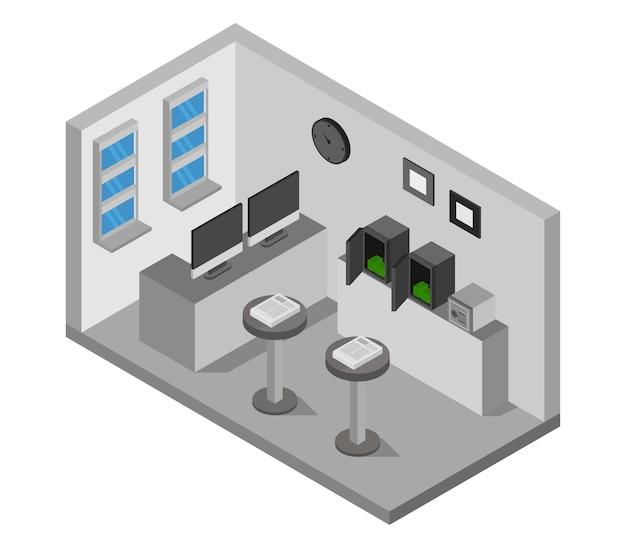 Izometryczny pokój bankowy