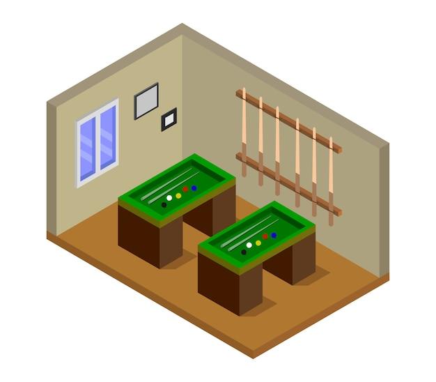 Izometryczny pokój bilardowy