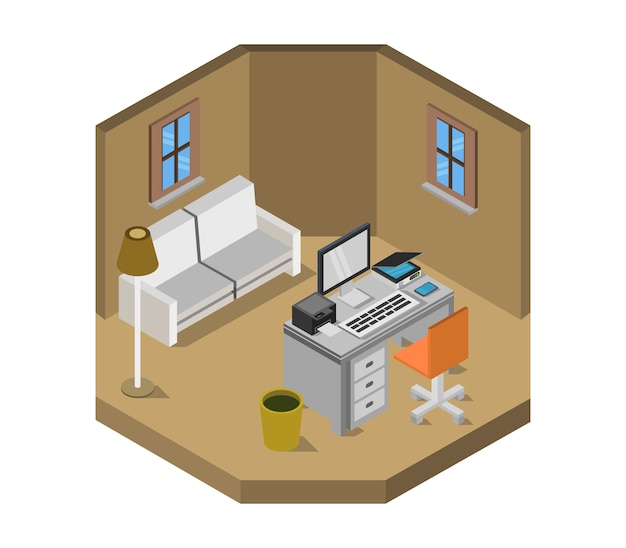 Izometryczny pokój biurowy