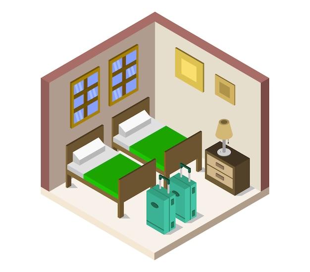 Izometryczny pokój hotelowy