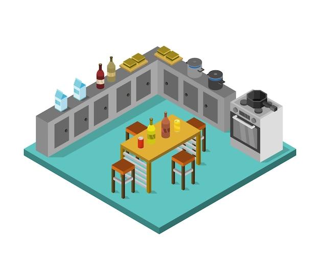 Izometryczny pokój kuchenny