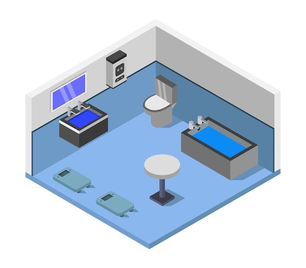 Izometryczny pokój łazienkowy