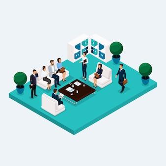 Izometryczny pokój multistoried pracowników biurowych 3d mężczyzn i kobiet w hali, aby omówić pojedyncze planowanie
