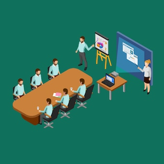 Izometryczny pokój prezentacji koncepcji