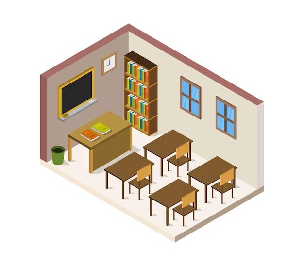 Izometryczny pokój szkolny