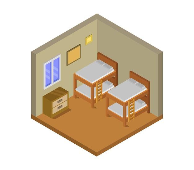 Izometryczny pokój w hostelu