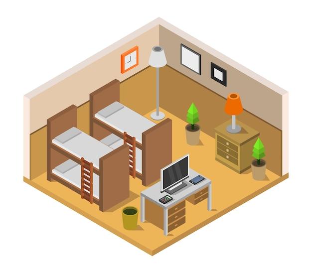 Izometryczny pokój z łóżkiem