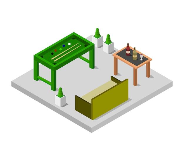 Izometryczny pokój ze stołem bilardowym