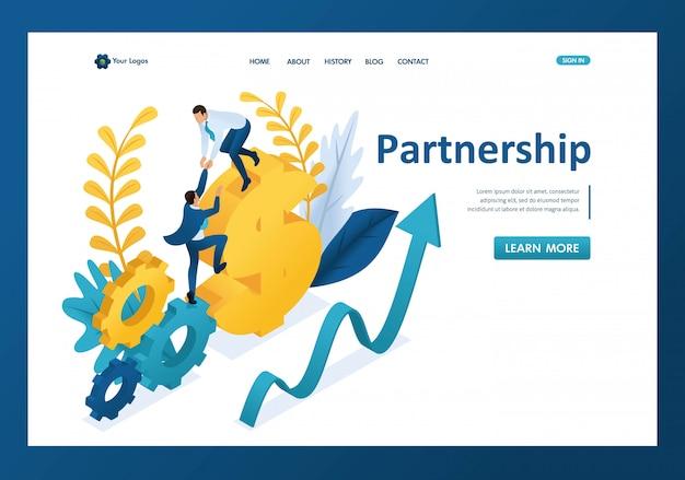 Izometryczny pomaga dużemu biznesmenowi do partnera, pomocna dłoń, strona docelowa partnerstwa