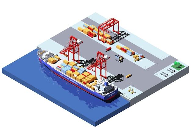 Izometryczny port towarowy z dwoma dźwigami rozładowującymi kontenery ze statku kontenerowego.