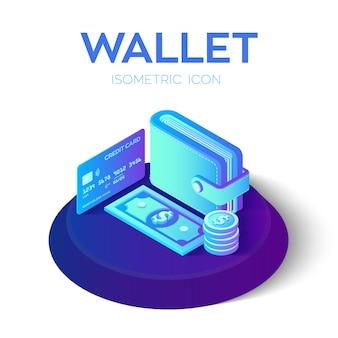 Izometryczny portfel 3d z kartą kredytową i pieniędzmi. dolar. karta bankowa. koncepcja płatności.