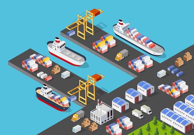 Izometryczny portowy statek towarowy
