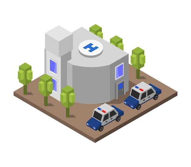 Izometryczny posterunek policji