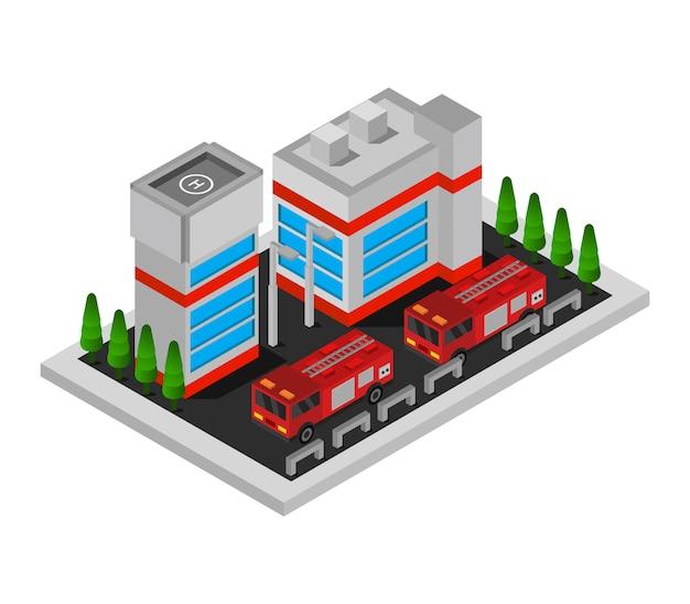 Izometryczny posterunek straży pożarnej