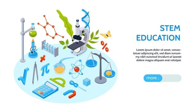 Izometryczny poziomy baner edukacji macierzystej